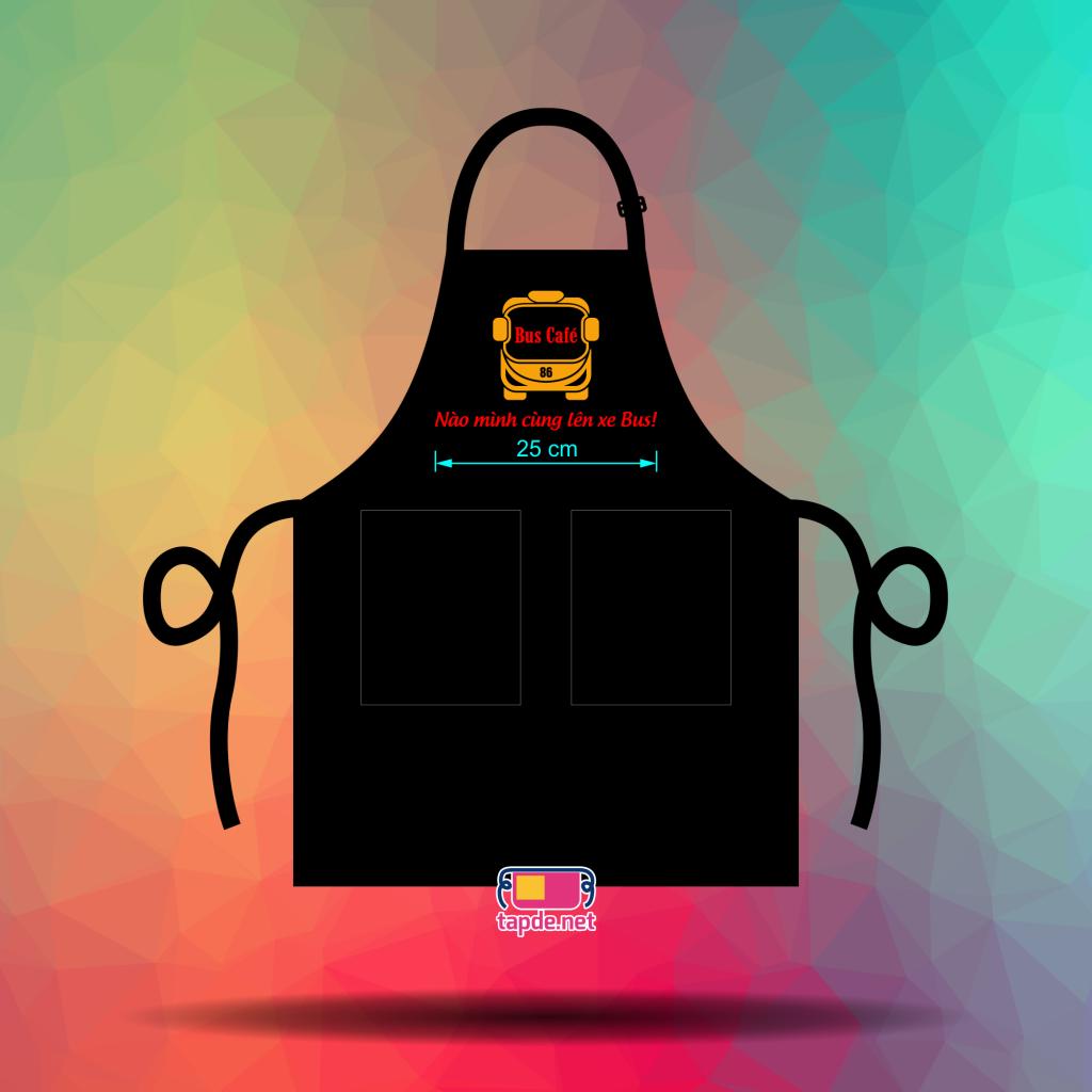 May tạp dề đeo cổ đen - Bus Café