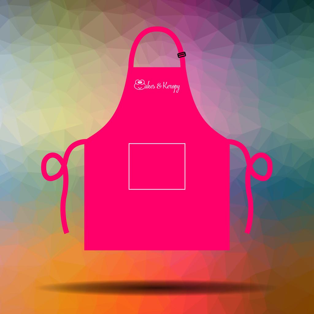 In tạp dề đeo cổ màu hồng - Cakes & Keropy
