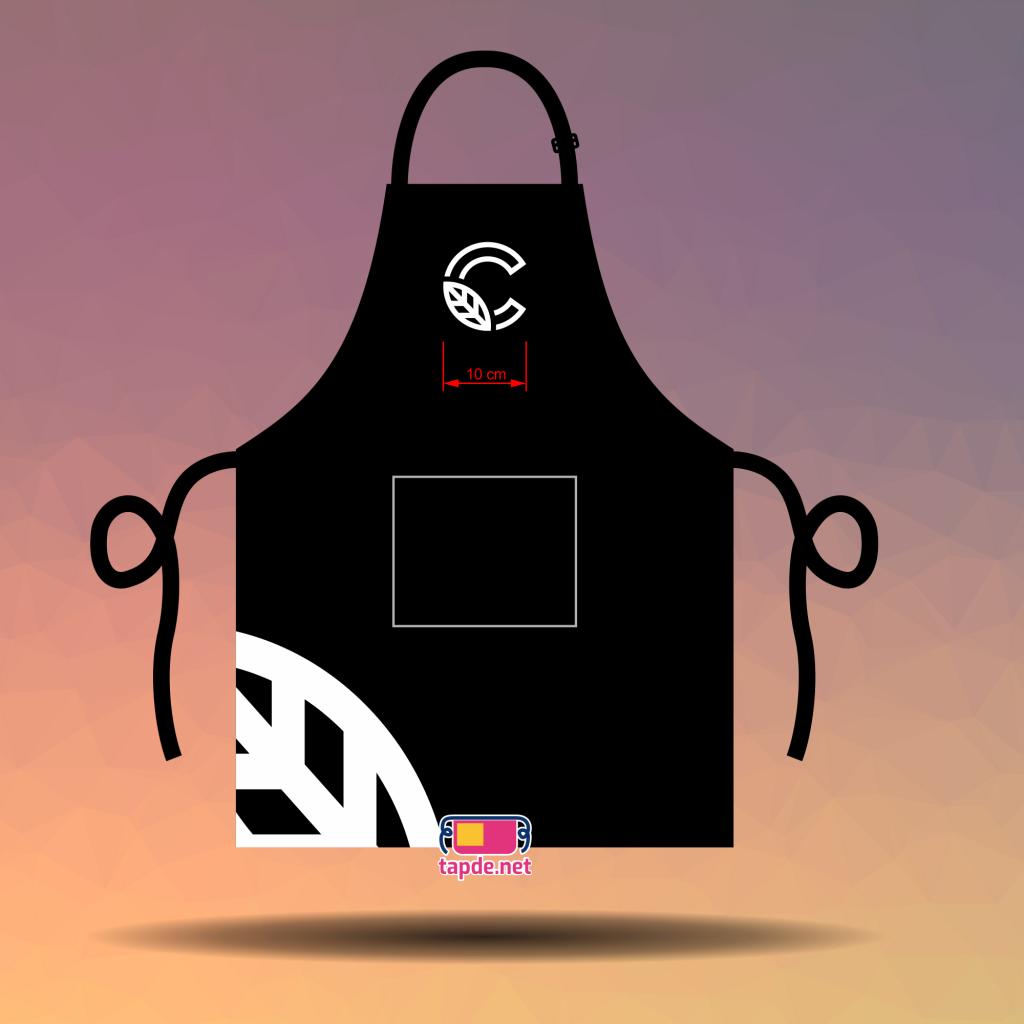 In tạp dề đồng phục màu đen C-Leaf