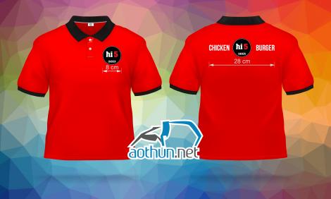 May áo thun đồng phục polo đỏ cho cửa hàng HI5 ở quận 9