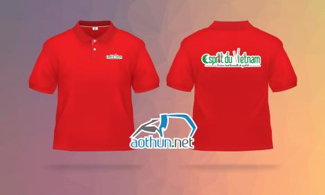 May áo thun đồng phục polo đỏ cho nhà phân phối thực phẩm Esprit du Vietnam
