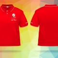 May áo thun polo đỏ và xanh cho công ty bất động sản 3A Real tại Tân Phú