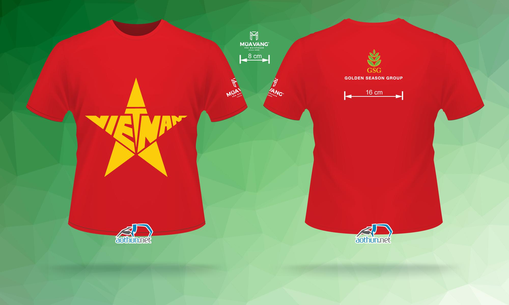 In áo thun cổ vũ đội tuyển Việt Nam cho Công ty Mùa Vàng