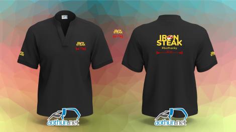 In áo thun đồng phục cổ tàu đen cho quán ăn Iron Steak tại Quận 10