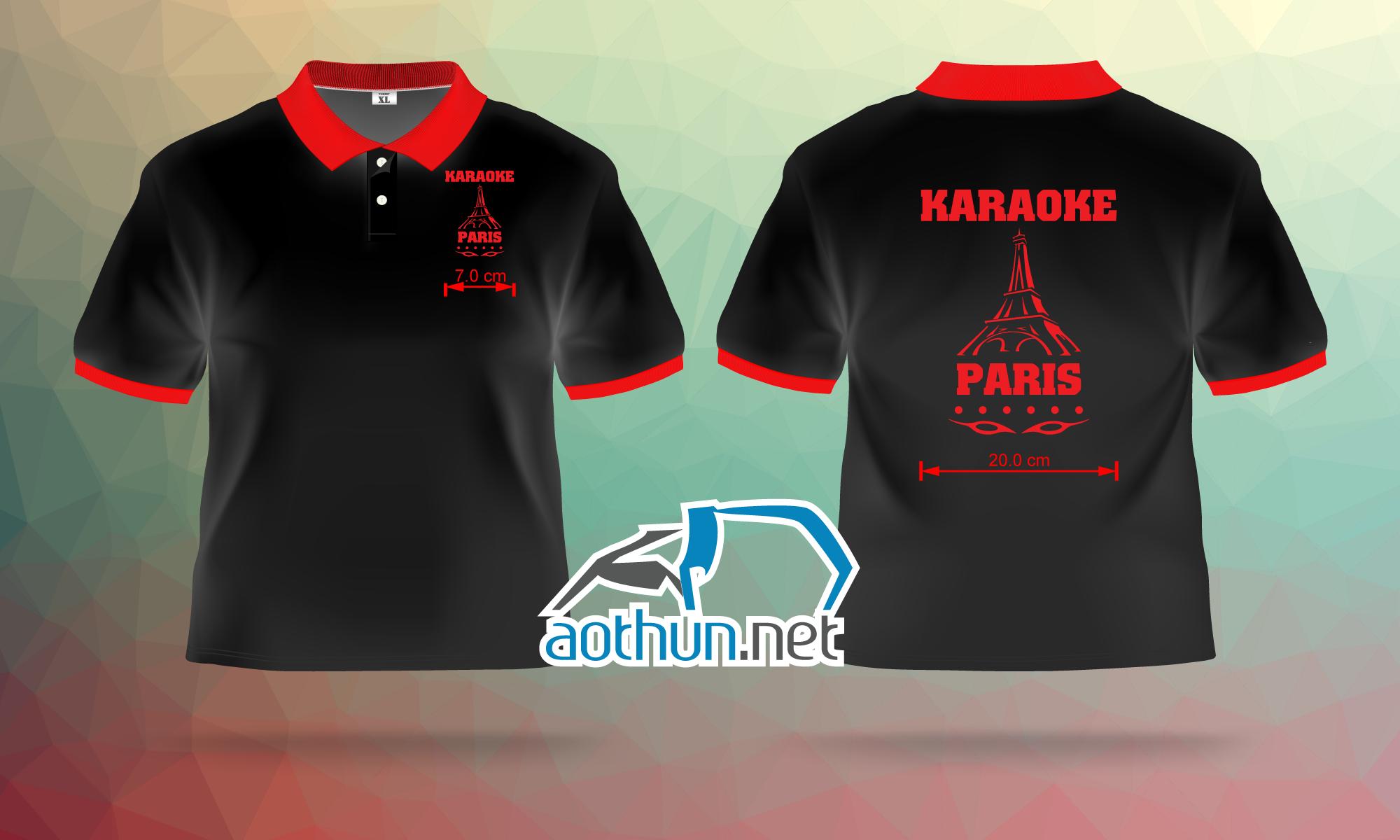 In áo thun đồng phục nhân viên đẹp và nhanh cho quán Karaoke Paris