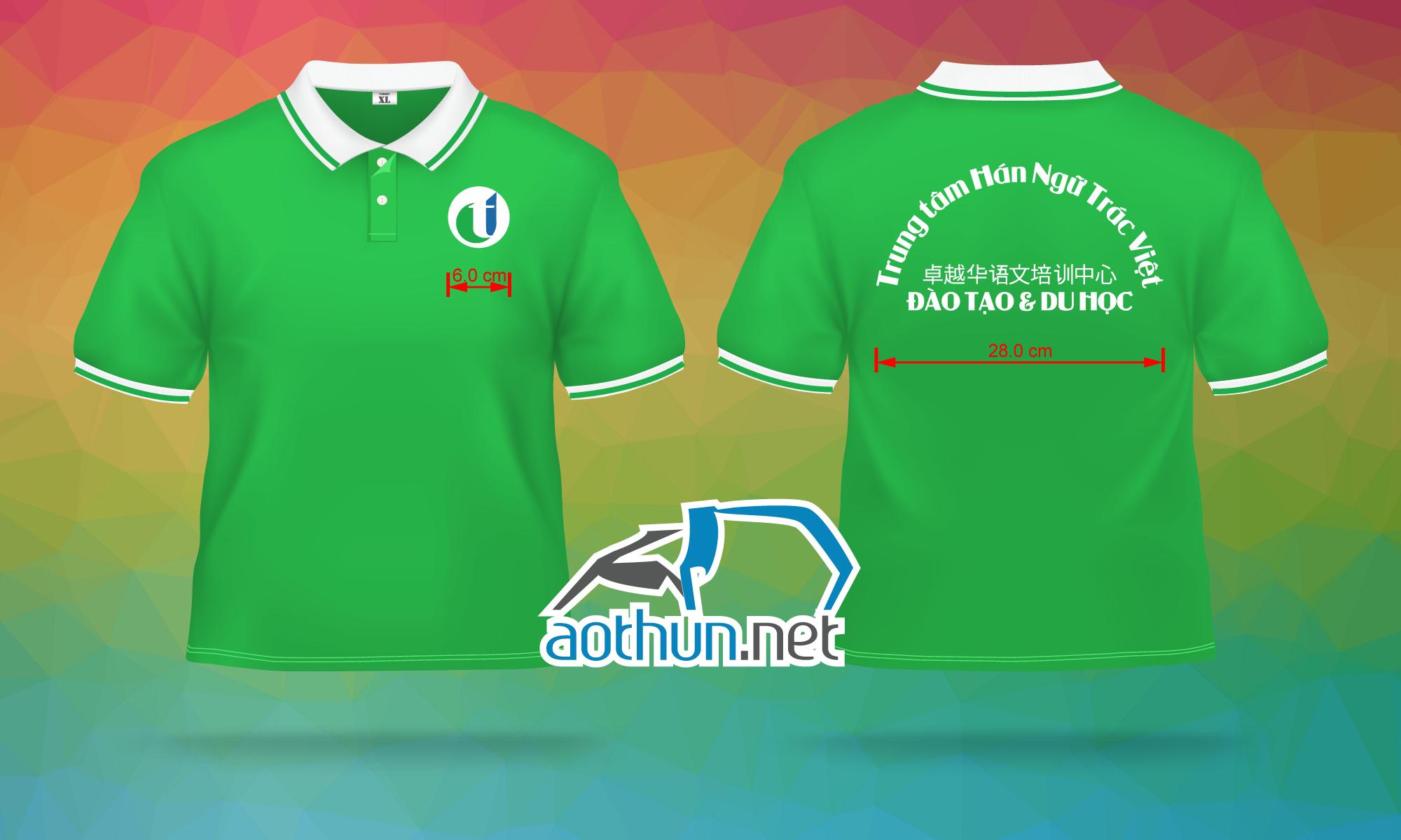 In áo thun đồng phục nhanh và đẹp cho Trung Tâm Hán Ngữ Trác Việt