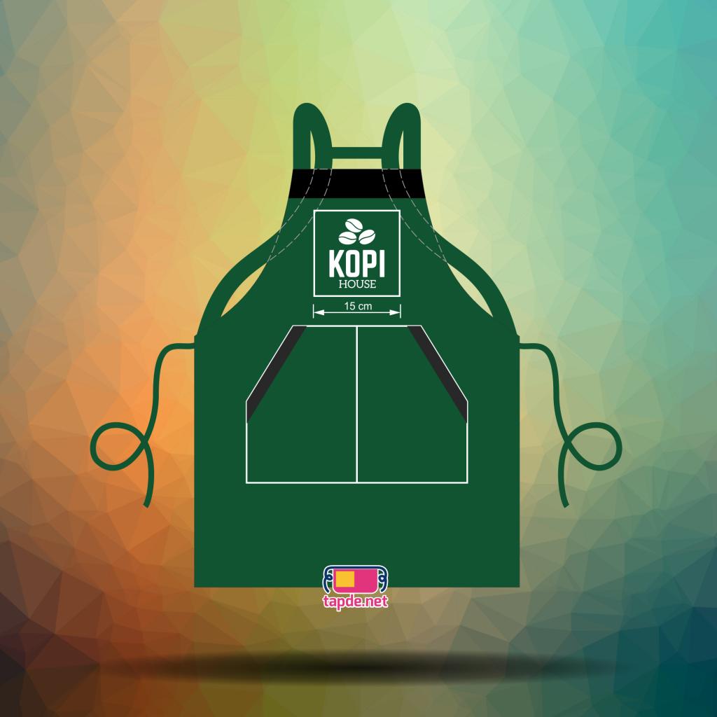 Thêu tạp dề đồng phục đẹp và nhanh cho cửa tiệm Kopi House