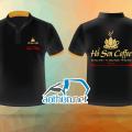 May áo thun đồng phục cổ tàu mẫu đẹp giá tốt cho Quán Hồ Sen Cofee tại Tây Ninh
