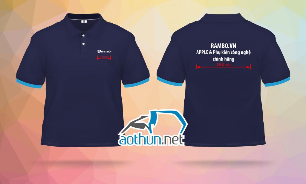 May áo thun đồng phục giá rẻ cho cửa hàng phụ kiện công nghệ Rambo