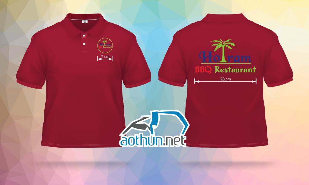 May áo thun đồng phục mẫu đẹp chất lượng cho Nhà hàng đồ nướng Hồ Tràm BBQ Restaurant ở Vũng Tàu