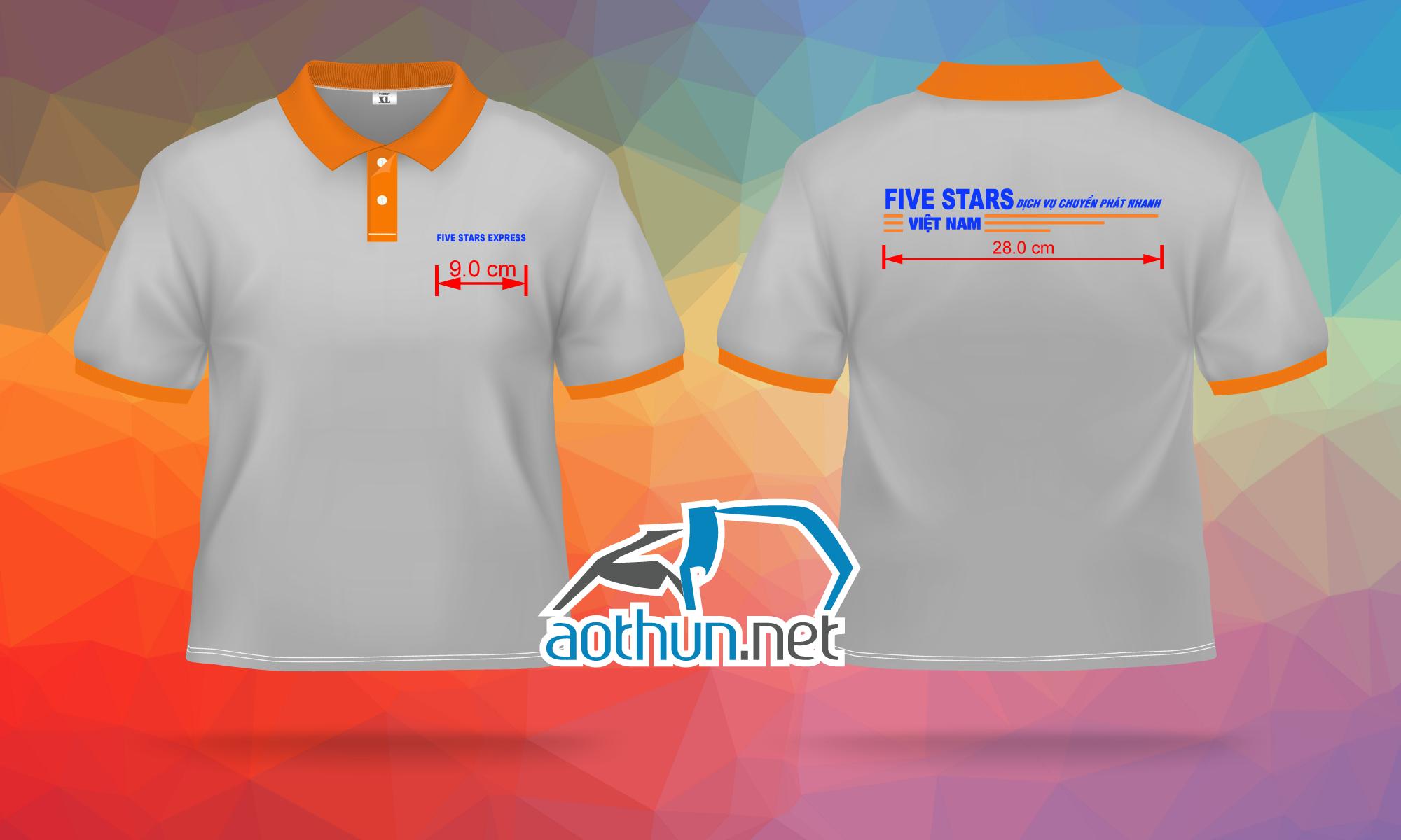 May áo thun đồng phục nhân viên nhanh và đẹp cho Công ty chuyển phát nhanh Five Stars
