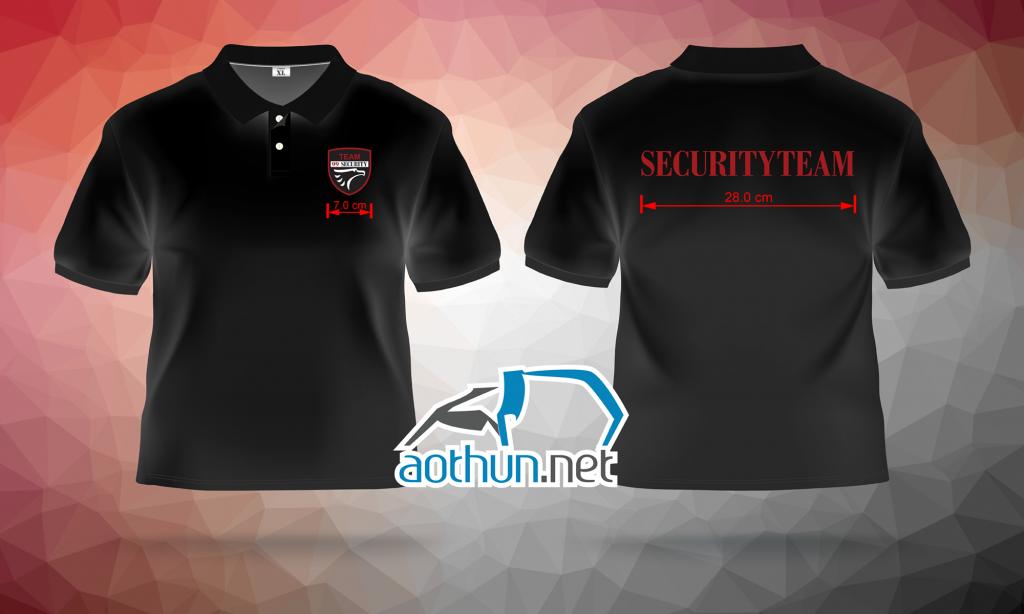 May đồng phục áo thun đen giá rẻ cho công ty bảo vệ Securityteam