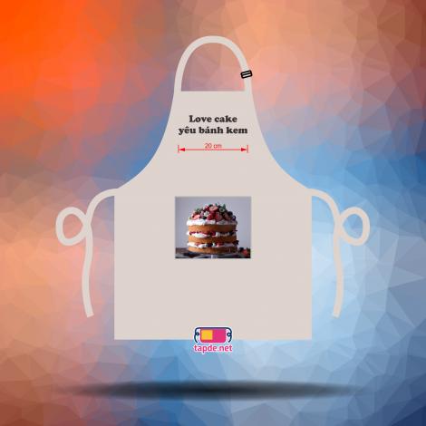 May tạp dề đồng phục nhanh và đẹp cho cửa hàng bánh kem Love Cake