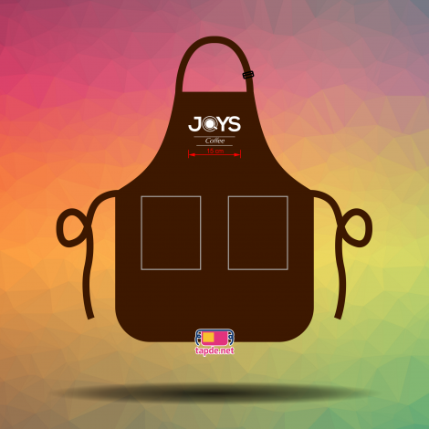 May tạp dề đồng phục thêu logo đẹp và nhanh cho Quán Joys Coffee tại Hà Nội