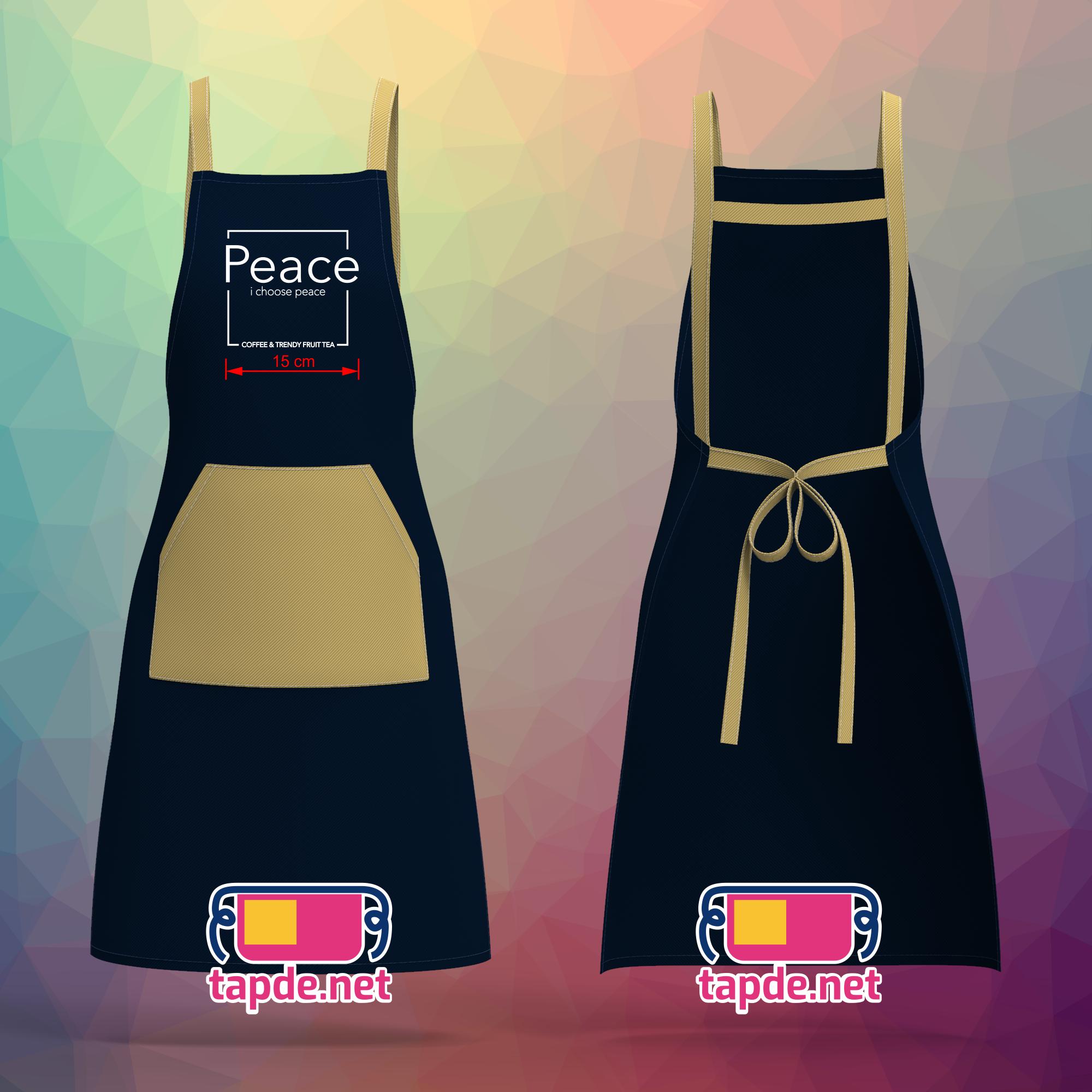 In tạp dề đồng phục quán Peace Coffee