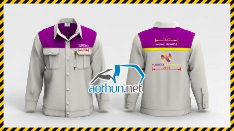 Áo đồng phục bảo hộ nhân viên Dịch Vụ Chuyển Phát Nhanh Nasco ở Hà Nội