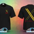Áo thun đồng phục với biểu tượng X ở quận 8