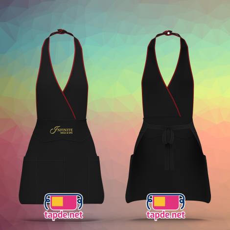 Tạp dề yếm đeo cổ màu đen Infinite Nail Spa