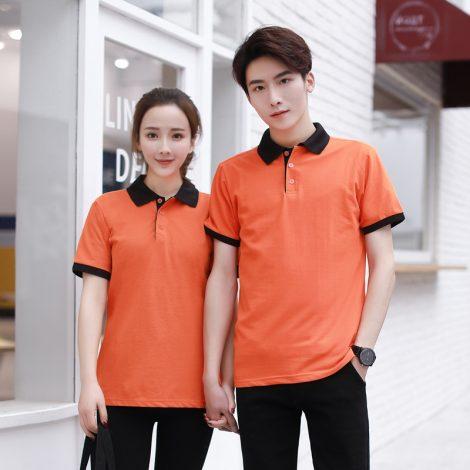 Áo thun đồng phục cổ trụ màu cam đậm
