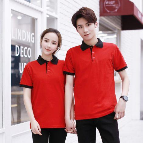 Áo thun đồng phục cổ trụ màu đỏ